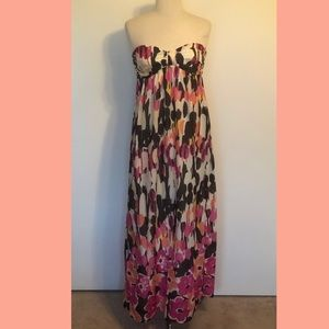 Allen B. Floral Strapless Maxi Dress